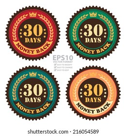 Vector : Colorful Vintage 30 Days Money Back Icon, Badge, Sticker or Label Isolated on White Background