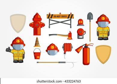 Vector Colorful vintage flat icon set. illustration for infographic. Firefighter Equipment and volunteer emblem