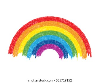 vector colorful water rainbow arch illustration, grunge painted design on white background, bright rainbow colours