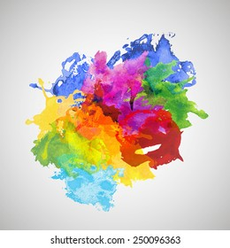 Vector Colorful Watercolor Splash for decoration of posters, typography, flyers and other. Original Rainbow Blobs for poster design.