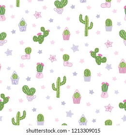 Vector colorful and white cacti tea party seamless pattern background. Cute girly design with wild and houseplant cacti in pots, boot, muffin cup. Excellent for kids room decor, fabric, wallpaper.