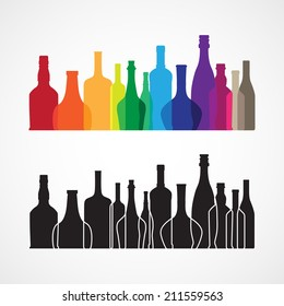 The vector colorful wine and whiskey bottle