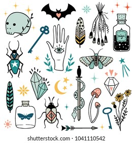 Vector colorful witch magic design elements set. Hand drawn, doodle, sketch magician collection. Witchcraft symbols:  potion, skull, crystal, eyes, knife. Perfect for tattoo, textile, cards, mystery