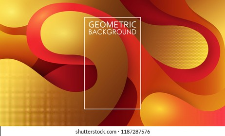 Vector colorfull background. Embossed layers of cut paper. Bright colored abstract illustration. Kraft style. Origami. Halftone texture. Wavy geometric lines. Template for a website, brochure, banner.