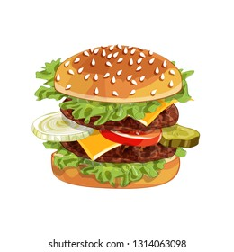 Vector colorfull big burger over any background