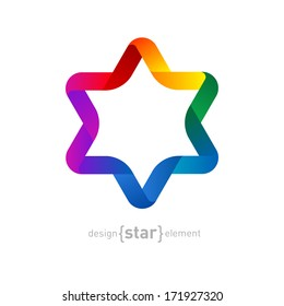 The Vector colorfull Origami David Star on white background