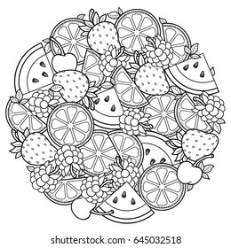 Fruit Coloring Page Images Stock Photos Vectors