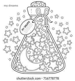 Vector Coloring book for adults. A glass vessel with dreams. A bottle with stars and moon