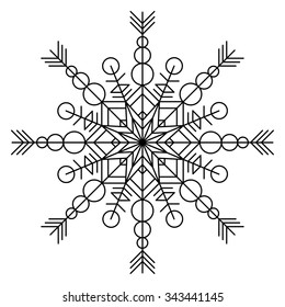 Vector coloring book for adults with snowflake.