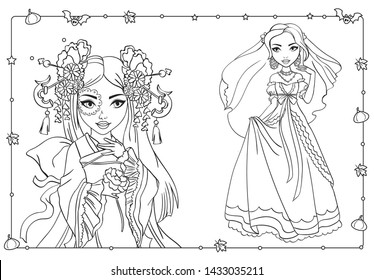 Vector coloring book of beautiful girls in oriental attire and wedding dress