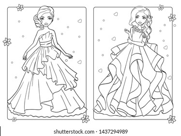 Vector coloring book of beautiful girls in wedding lush dresses with frill