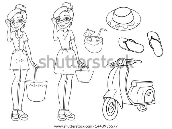 Vector Coloring Book Beautiful Summer Fashion Stock Vector Royalty Free 1440955577