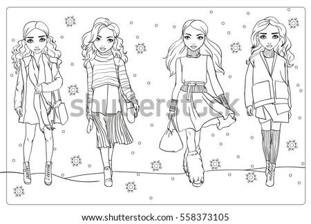 Vector Coloring Book Girls Winter Clothes Stock Vector (Royalty Free ...