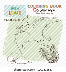 Vector Coloring book Pterosaur with plant and stone.Jurassic Wildlife. Wild animals dinosaurs. Animal character.Wild creatures of the Jurassic period. Vector dinosaurs