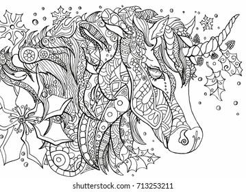 Vector coloring book unicorn
