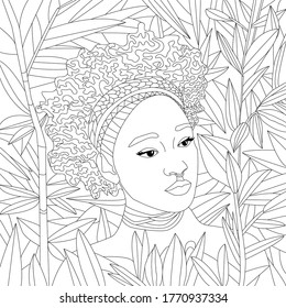 Vector coloring illustration with african girl. Afro american Woman portrait with curly hair. Beautiful face. half-face. Colouring page. Monochrome line drawing