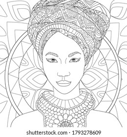 Vector coloring illustration with african girl. Afro american Woman portrait with turban. Beautiful face. half-face. Colouring page. Monochrome line drawing