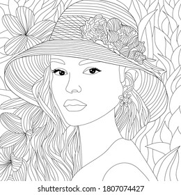 Vector coloring illustration with european girl. Russian Woman portrait with curly hair. Beautiful face. 3/4 view-face. Colouring page. Monochrome line drawing