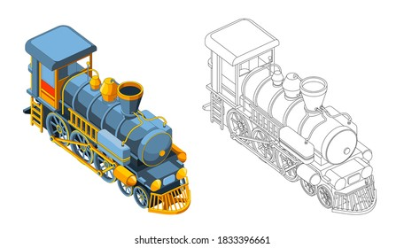 Vector coloring page with 3d model train. Isometric front view.Vintage retro train graphic vector. Isolated. Coloring page and colorful train
