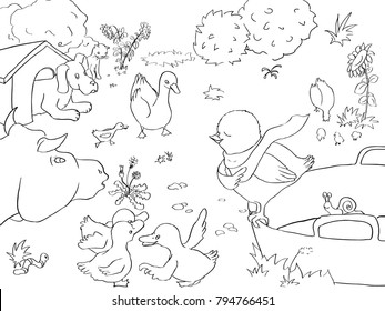 Vector coloring page about chicken, ducks, dog, cow and other farm animals.