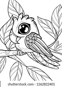 Vector coloring page for children. Cute animals coloring book for kids. Little chibi parrot isolated on white background.
