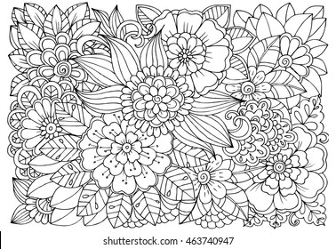 Vector Coloring Page Of Floral Pattern Doodle Flowers For Adult Anti Stress Book