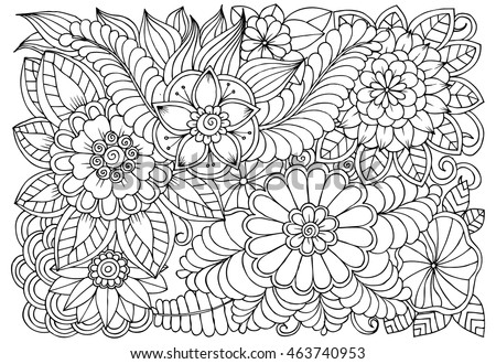 vector coloring page floral pattern doodle stock vector royalty