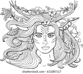 Coloring Pages Adults Girl Indian Decoration Stock Vector Royalty