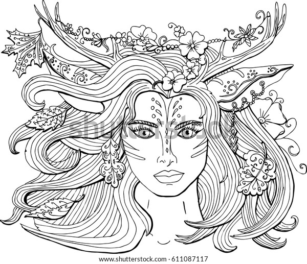 Vector Coloring Pages Adults Ornament Beautiful Stock Vector (Royalty Free)  611087117