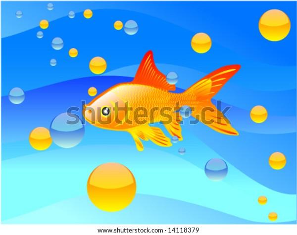 Vector Colour Cartoon Gold Fish Inwater Stock Vector (Royalty Free) 14118379