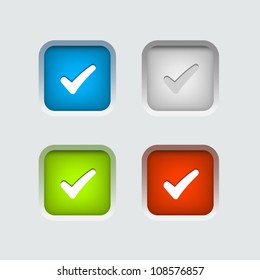 Vector colour check box set
