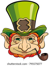Vector colourful illustration of leprechauns head in top hat, isolated on white background. File doesn't contains gradients, blends, transparency and strokes or other special visual effects.