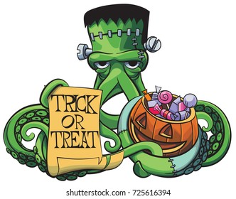 Vector colourful illustration of Octopus the Frankenstein with Halloween pumpkin and paper poster in his tentacles, isolated on white background.