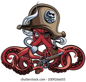 Vector colourful illustration of one-eyed octopus in the tricorn with pistol and tobacco pipe in his tentacles, isolated on white background.