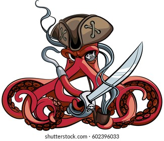 Vector colourful illustration of one-eyed octopus in the tricorn with saber and tobacco pipe in his tentacles, isolated on white background. You can open this file with any vector graphics editors.
