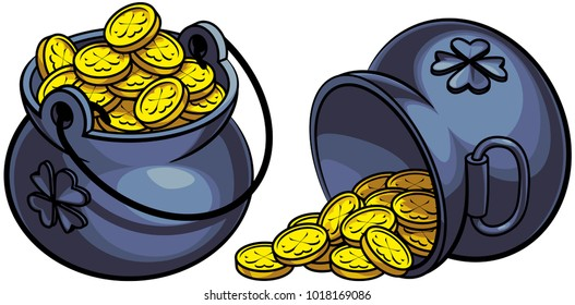 Vector colourful illustration of two leprechauns pots of gold, isolated on white background. File doesn't contains gradients, blends, transparency and strokes or other special visual effects.