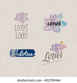 Vector colourful logo set with Lotus flower. The Water Lily flower as main element of logotypes on beige background