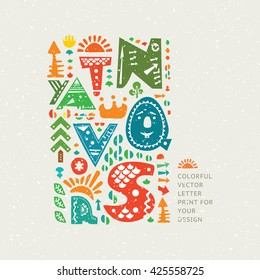 Vector colourful print on old paper background. Alphabet cute letters and other design elements in ethnic style