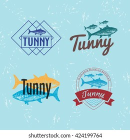 Vector colourful set with tuna fish. The tuna as main element of logotypes on blue background