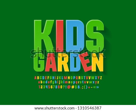 71ebd9d68 Vector Colourful Sign Kids Garden. Bright funny Font. Playful Alphabet  Letters