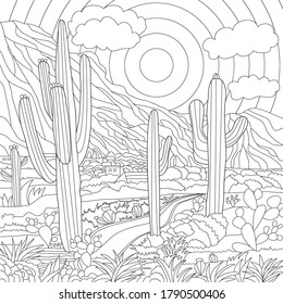 Vector colouring mexican illustration with mountains and houses, sun, road, cactuses  landscape. Coloring page. Mexica print. Monochrome line drawing