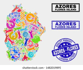 Vector combination of tools Flores Island of Azores map and blue seal stamp for quality product. Flores Island of Azores map collage formed with tools, wrenches, production icons.