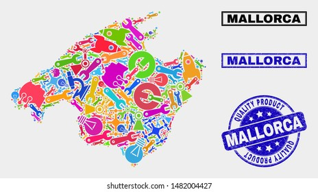 Vector combination of tools Mallorca map and blue stamp for quality product. Mallorca map collage constructed with tools, spanners, industry icons.