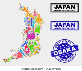 Vector combination of tools Osaka Prefecture map and blue stamp for quality product. Osaka Prefecture map collage made with tools, wrenches, science icons.