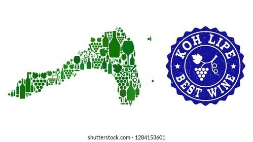 Vector combination of wine map of Koh Lipe and best grape wine grunge watermark. Map of Koh Lipe collage formed with bottles and grape berries bunches.
