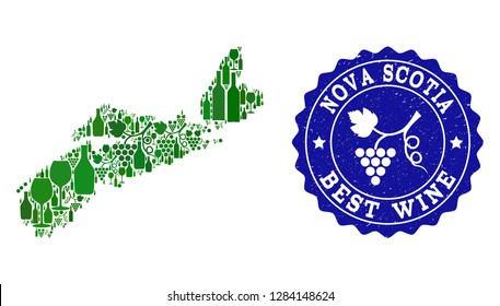 Vector combination of wine map of Nova Scotia Province and best grape wine grunge seal stamp. Map of Nova Scotia Province collage composed with bottles and grape berries bunches.