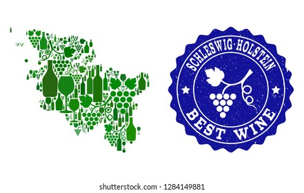 Vector combination of wine map of Schleswig-Holstein State and best grape wine grunge seal. Map of Schleswig-Holstein State collage formed with bottles and grape berries bunches.