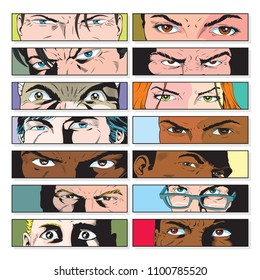 Vector Comic Book View of Characters Facial Expression