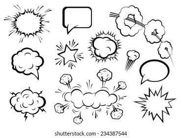 Vector comic boom or blast explosions and comic  effects set