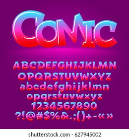 Vector comic candy glossy letters, number, symbols. Contains graphic style